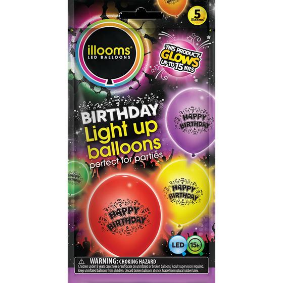 Illooms Printed Happy Birthday LightUp Balloons 5pk Mixed Colors