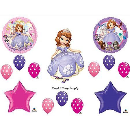 SOFIA THE FIRST Happy Birthday PARTY Balloons Decorations Supplies Disney POLKA DOTS](Sofia The First Party Supplies)