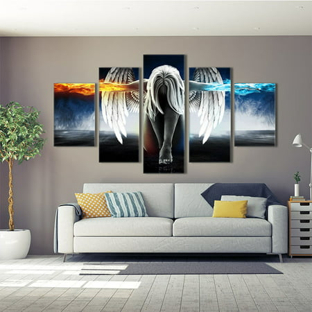 5 Panels Angel Wings Oil Paintings Wall Art Jet Paintings Pictures for Home Living Room