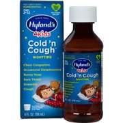Hyland's 4 Kids Cold 'n Cough Nighttime Relief Liquid, Natural Relief of Common Cold Symptoms, 4 Ounces