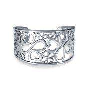 Ayllu Amulet Talisman Intertwine Symbol Heart Infinity Clover for Love Luck Unity Inspirational Statement Wide Cuff Bracelet for Women Teens .925 Sterling Silver