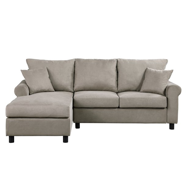 Sectional Sofa, SEGMART 35'' x 85'' x 61'' Tufted Contemporary 2-piece Sectional Sofa Sets with Reversible Chaise Sofa Loveseat, Mid-Century Sectional Sofas with 2 Pillows, Solid Wood Fram Leg, S1030