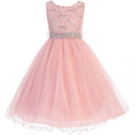 Big Girls' Lace Sequin Top Rhinestone Belt Flowers Girls Dresses Blush 10