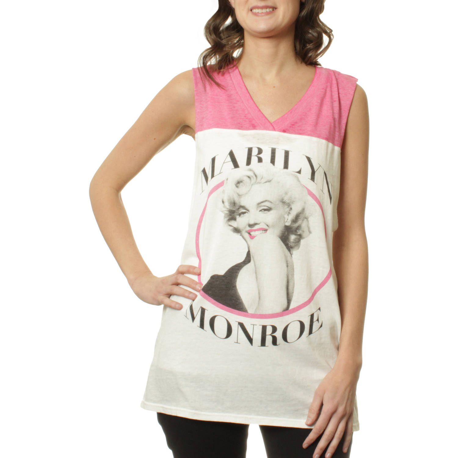 Marilyn Monroe Juniors' Graphic Athletic Burnwash V Neck Muscle Top