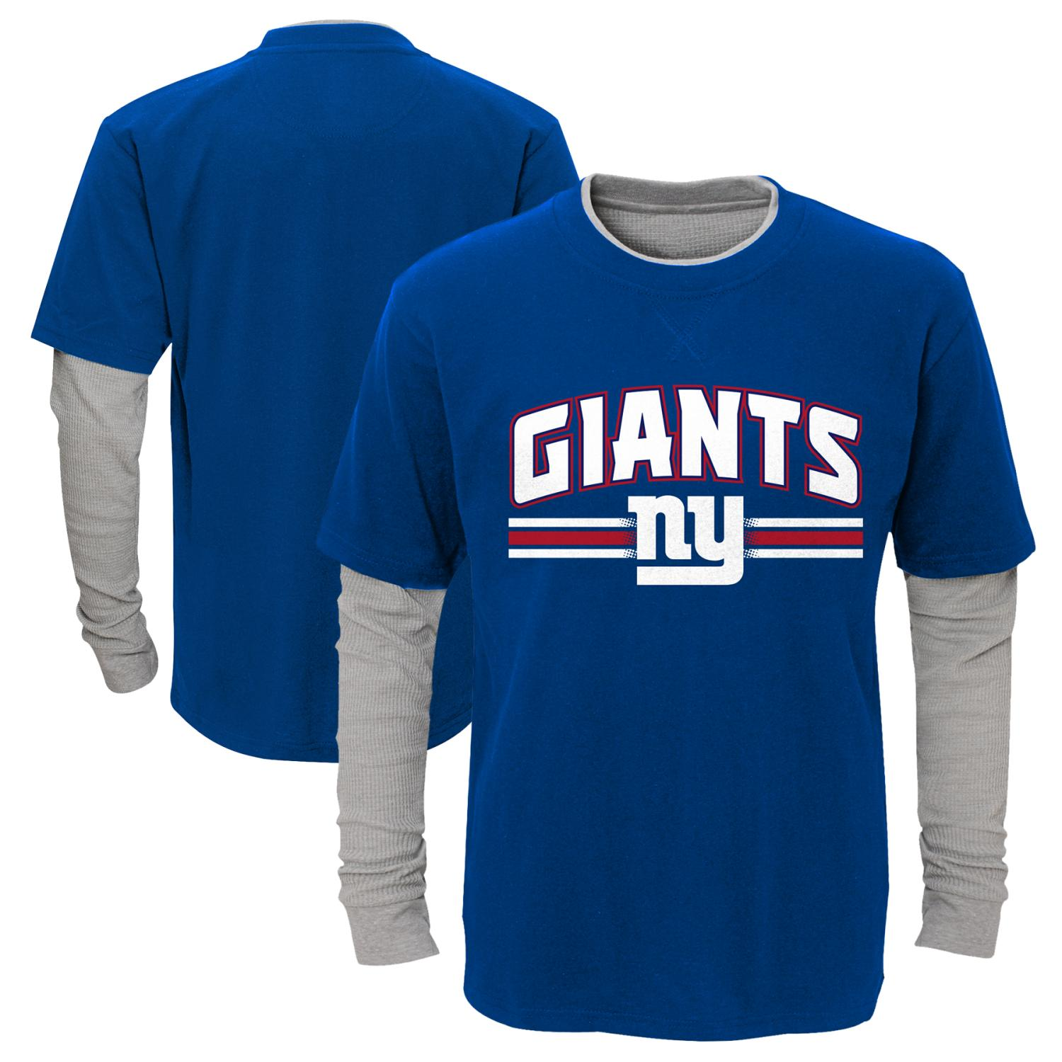 "New York Giants Youth NFL ""Bleachers"" L S Faux Layer Thermal Shirt by Outerstuff"