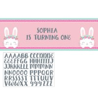 """Set of 6 Green and Pink Bunny Party Happy Birthday Banner 60"""""""