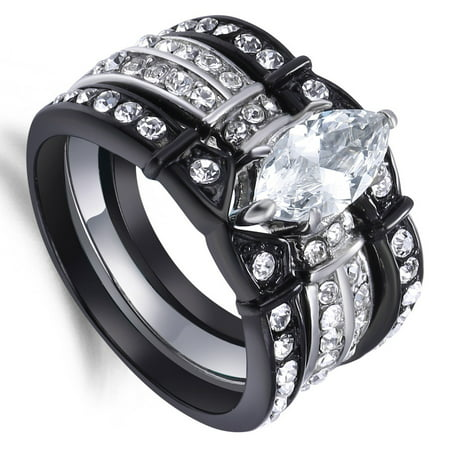 Black Stainless Steel Women Marquise Cut Created Diamond Rings Bridal Sets Sizes 5 to