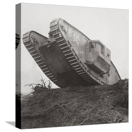 A Tank Leads the Infantry into Action and Breaks Down the Wire Entanglements Stretched Canvas Print Wall Art By English Photographer ()