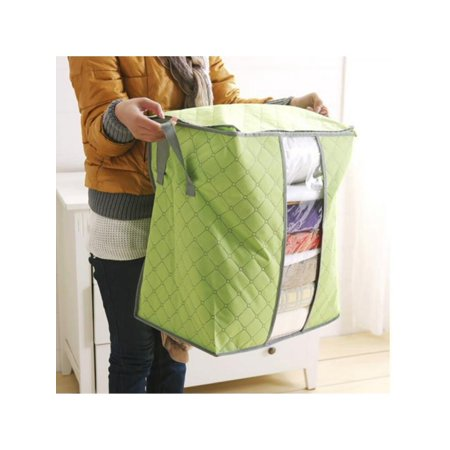 Zippered Box (60*42*36cm Clothes Quilt Blanket Storage Bag Foldable Charcoal Bamboo Organizer Zipper)