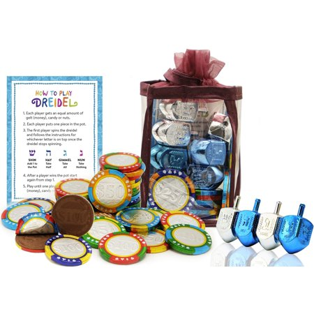 Hanukkah Chocolate Gelt - Chanuka Chocolate Coins - Hanukkah Gift-Set - Chocolate Poker Chips - Chocolate Gelt and Metallic Dreidels In An Adorable Keepsake Bag Kosher O-UD](Dreidels In Bulk)