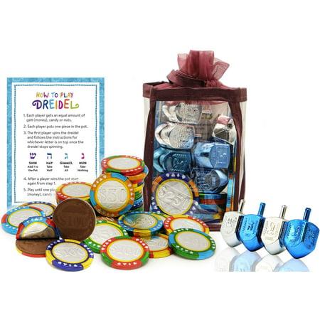 Chocolate Poker Chips (Hanukkah Chocolate Gelt - Chanuka Chocolate Coins - Hanukkah Gift-Set - Chocolate Poker Chips - Chocolate Gelt and Metallic Dreidels In An Adorable Keepsake Bag Kosher)