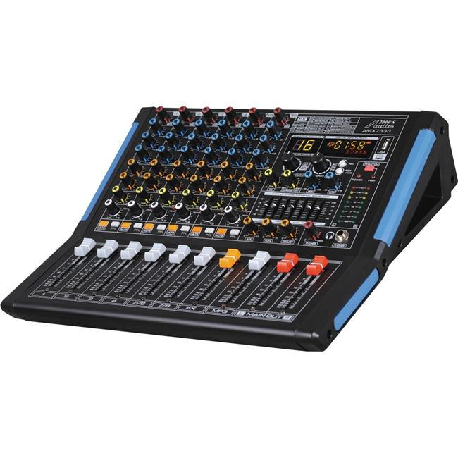 Audio2000'S AMX7333- Professional Eight-Channel Audio Mixer with USB Interface, Bluetooth, and DSP Sound Effects