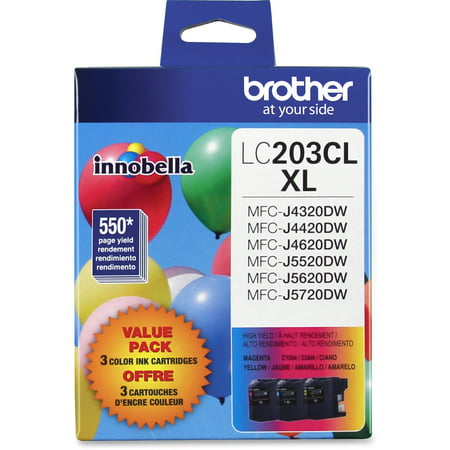 Brother Genuine High Yield Color Ink Cartridge, LC2033PKS, Replacement Color Ink Three Pack, Includes 1 Cartridge Each of Cyan, Magenta & Yellow, Page Yield Up To 550 Pages, LC203 ()