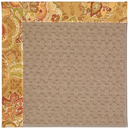 Longshore Tides Lisle Machine Tufted Bronze Flowers and Beige Indoor/Outdoor Area Rug