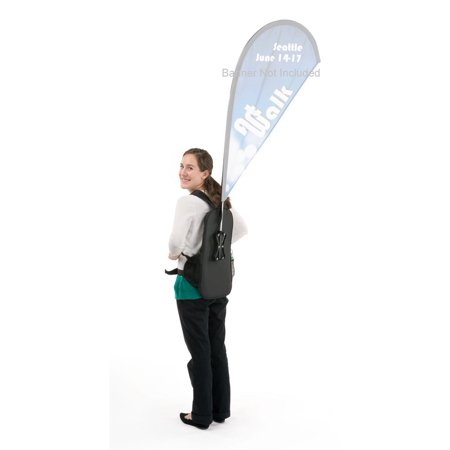Single Pole Rolling Backpack - Walking Banner Stand, Backpack and Flagpole Kit for Teardrop Flag (Not Included), Adjustable Shoulder Straps and Front Buckle, Canvas Backpack (Black) (BPBFN)