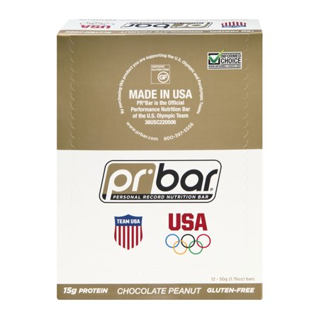 PR Bar Personal Record Nutrition Bar Chocolate Peanut Butter - Gluten Free - 12 Bars, 21.12 OZ