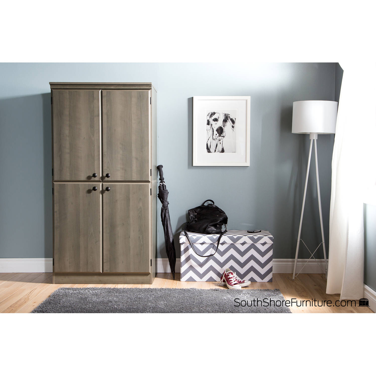 South Shore Morgan 4 Door Storage Cabinet, Multiple Finishes