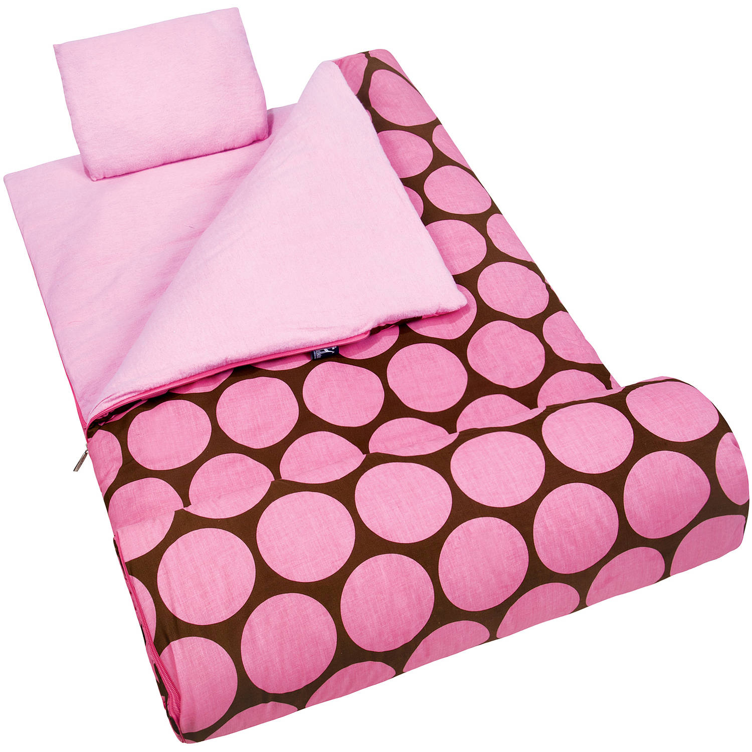 Wildkin Kids' Sleeping Bag, Big Pink Dot