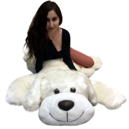 American Made Giant Stuffed 5 Foot Dog 60 Inch Soft Large Plush Puppy White Color (Giant Plush Dog)