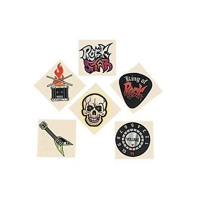 GLOW IN THE DARK ROCK STAR TEMPORARY TATTOOS 36PK - Glow In Dark Tattoo