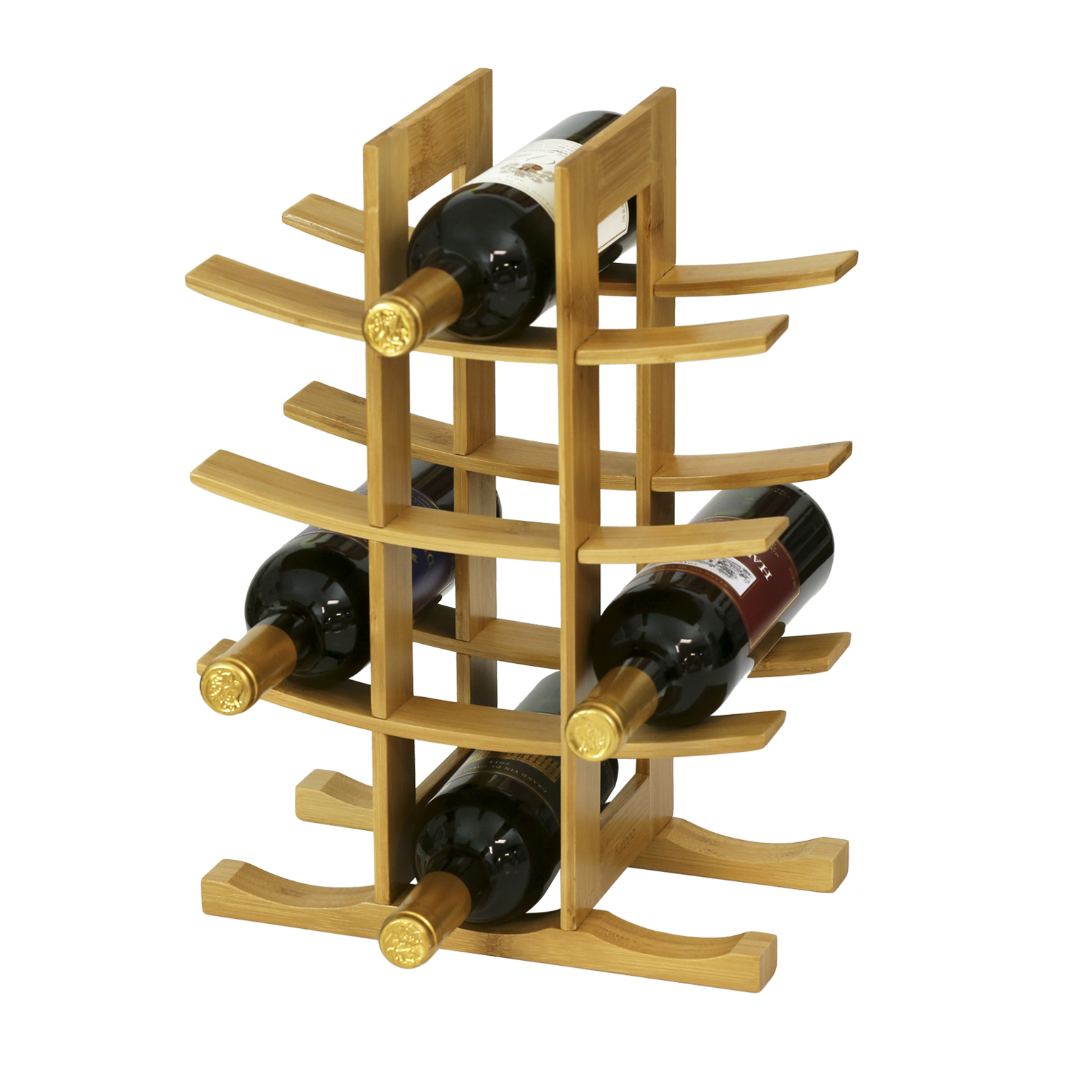 Furinno DaPur Bamboo 12-Bottle Wine Rack, FK9137 by Furinno