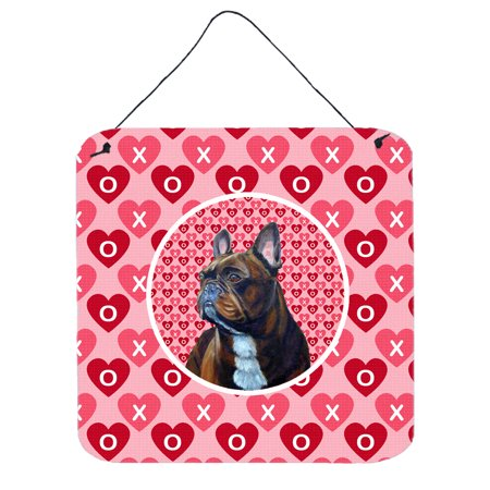 Bulldogs Hanging (French Bulldog Valentine's Love and Hearts Wall or Door Hanging Prints)