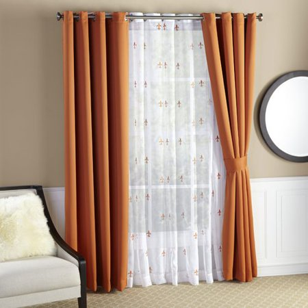 Sea Fleur De Lis Geometric Semi Sheer Thermal Curtain Panels