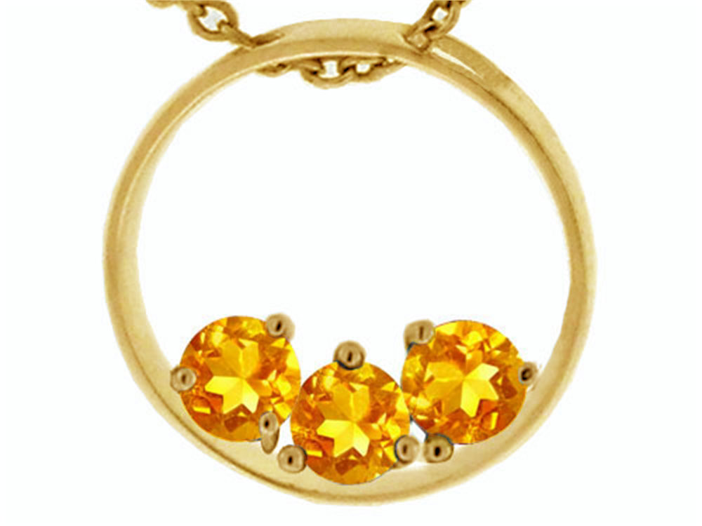 Tommaso Design 3 Stone Circle Of Love Genuine Citrine Pendant Necklace by