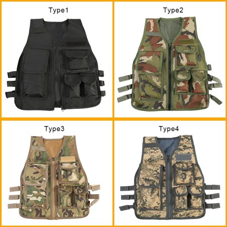 - Children Tactical Vest Nylon Shooting Hunting Molle Clothes CS Game Field Combat Training Protective Vest