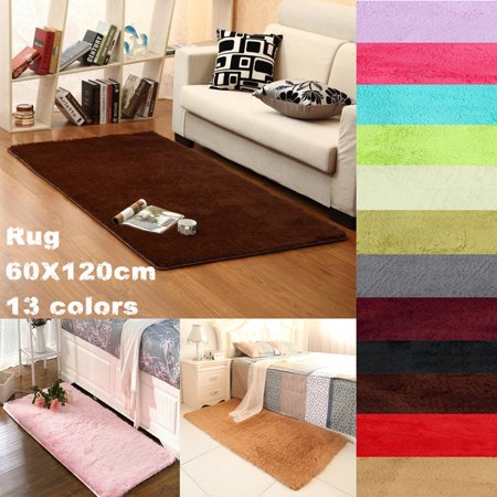 New Soft Shaggy Fluffy Rugs Anti-Skid Area Rug Dining Room Carpet Home Bedroom Floor Mat Child Play / Yoga Mat 60x120cm/ 23.62x47.2