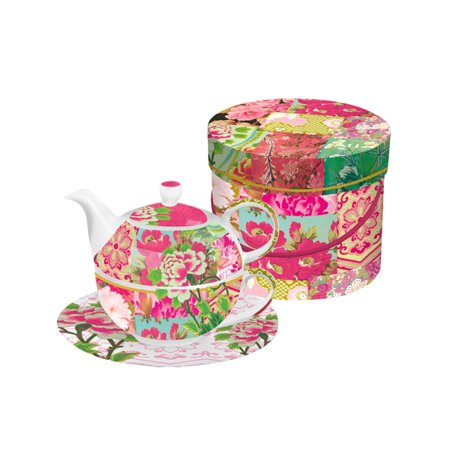 Shinto Garden Floral Bone China Tea for One Teapot, Cup and Saucer Set with Gift (Best Bone China Tea Set)
