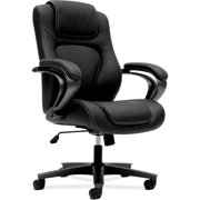 basyx VL402 Series Executive High-Back Swivel Leather Office Chair, Black Vinyl