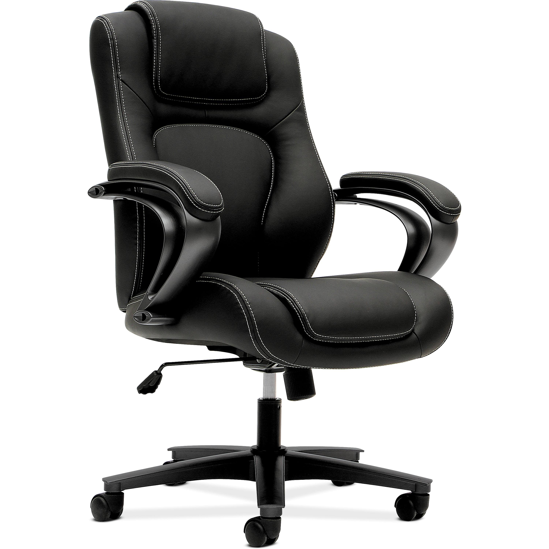 basyx VL402 Series Executive High-Back Swivel Leather Office Chair, Black Vinyl