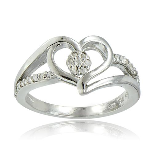 DB Designs  Sterling Silver 1/10ct TDW Diamond Heart Ring