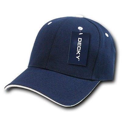 Navy Blue & White Sandwich Visor Bill Blank Plain Baseball Cap Hat Caps Hats ()