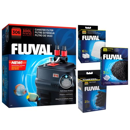 Fluval 306 A212 Canister Filter w/Bio-Foam, Carbon & Polishing Pads Fluval Canister Part Aquarium Filters