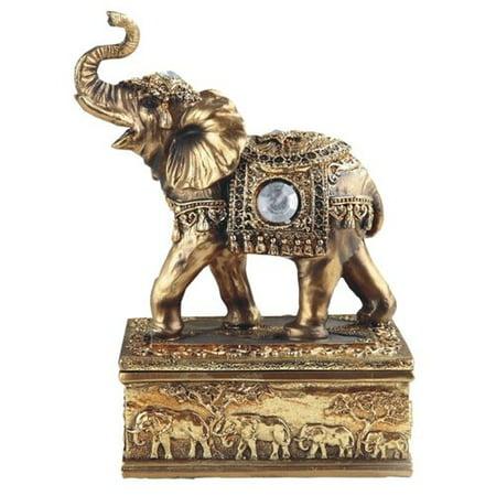 Bloomsbury Market Frances Rectangular Thai Elephant Above Trinket Figurine