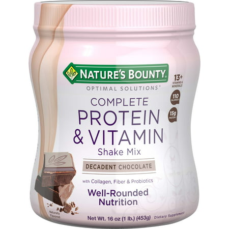 Nature's Bounty Optimal Solutions Complete Protein & Vitamin Powder, Chocolate, 15g Protein, 1 (High Protein Low Carb Shakes For Weight Loss)