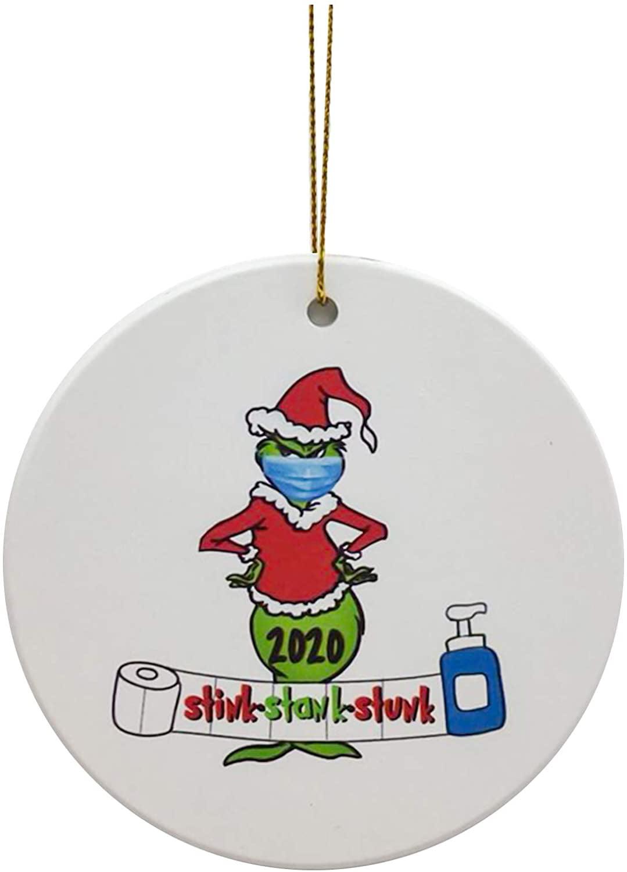 Quarantine Ornament,Face Mask Ornament Happy Party Grinch Hand Christmas Ornament COVID Ornament Personalize Grinch Grinch Ornament COVID Christmas