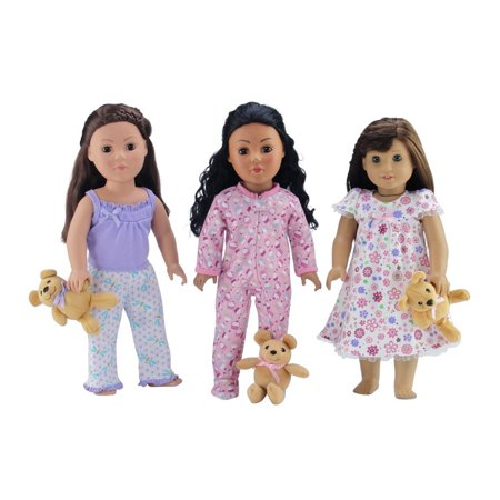 18-inch Doll Clothes | Value Bundle-Set of 3 Doll Pajamas, Each with Teddy Bear, Including Pink