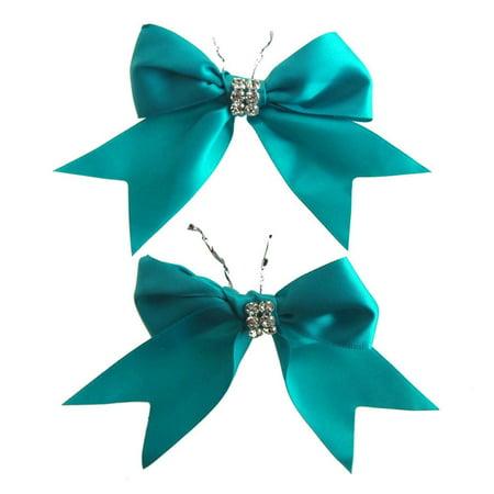 Pre-Tied Satin Bows with Rhinestone, 4-Inch, 2-Piece, - Rhinestone Heart Bows