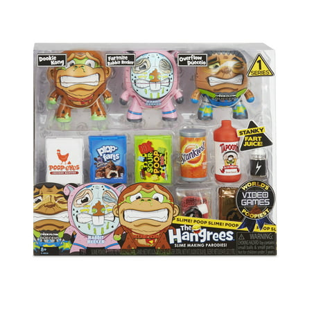 The Hangrees World's Poopiest Video Games Collectible Parody Figures 3-Pack with 3 figures & 5+ Slimes!