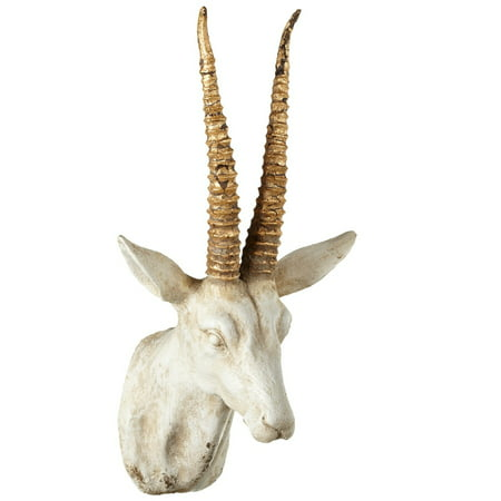 "15"" White with Gold Antique Style Distressed Antlers Gazelle Wall Mount"