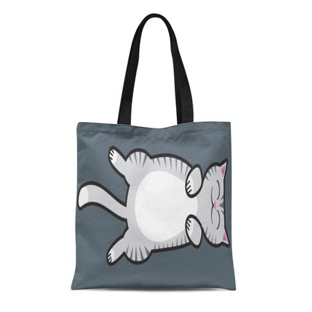 Kitten Cat Purse - LADDKE Canvas Tote Bag Kitty Belly Rub Cat Gray Tabby Feline Kitten Pet Reusable Handbag Shoulder Grocery Shopping Bags