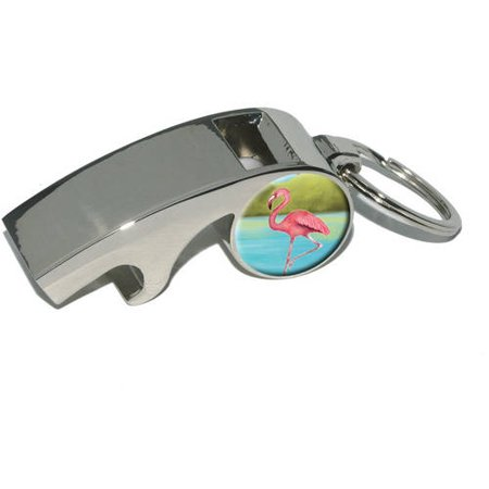 flamingo plated metal whistle bottle opener keychain key ring. Black Bedroom Furniture Sets. Home Design Ideas