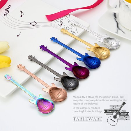 Guitar Coffee Spoon Set Stainless Steel Dessert Ice Cream Spoon Tea Spoon Coffee Accessories Flatware Drinking Tools - image 3 of 11