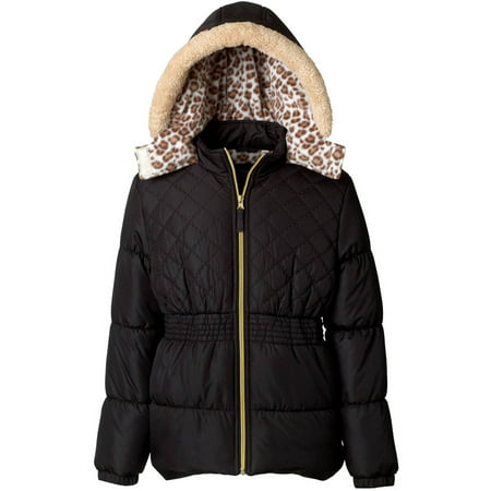 pink platinum girl's quilted puffer jacket with sherpa fleece hood