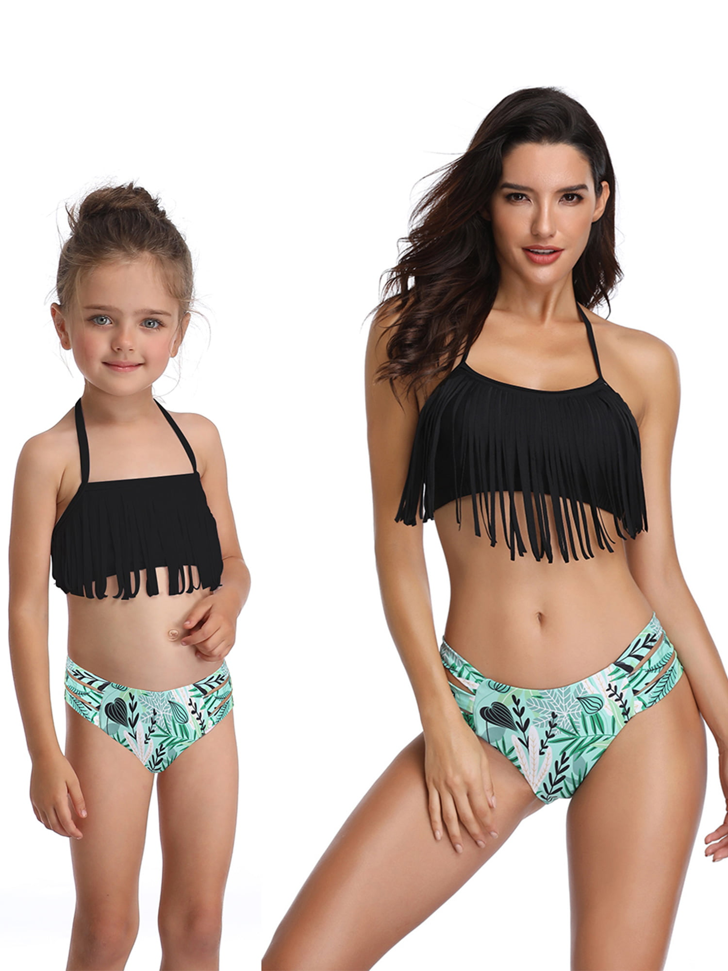 Baby Girls Bikini Swimsuit Set Family Matching Mother Girl Swimwear Dark Green, Girl 6-8T