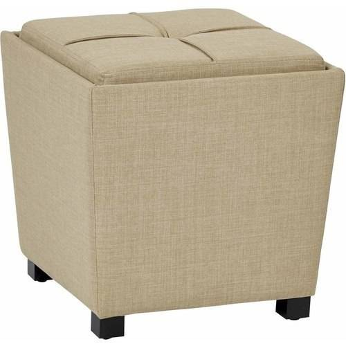 2-Piece Ottoman Set with tray top in Abby Geo Grey Fabric by Office Star Products
