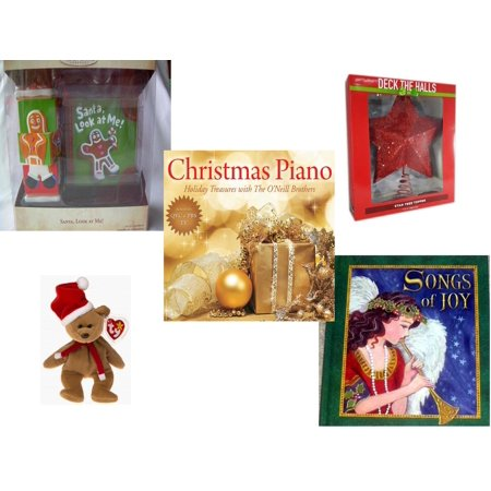 - Christmas Fun Gift Bundle [5 Piece] - Hallmark Keepsake Santa Look at Me Ornament - Deck The Halls Red Star Tree Topper 11.5